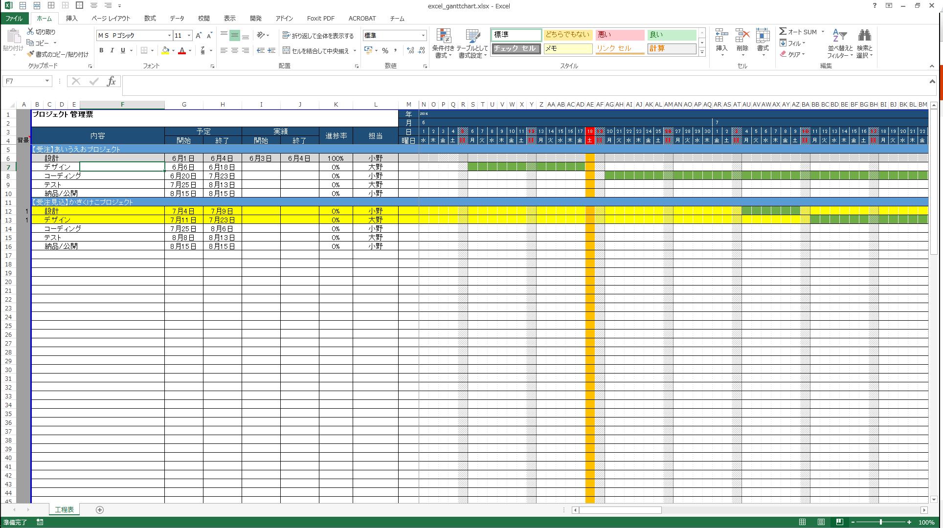 office excelでプロジェクト管理 工程 実績管理 スケジュール管理